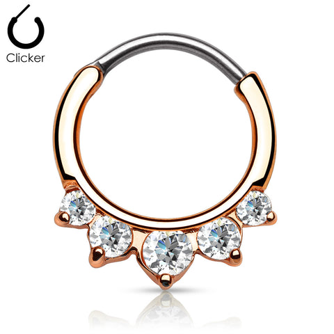 Rose Gold Five Pronged Clicker Septum / Daith Piercing Ring