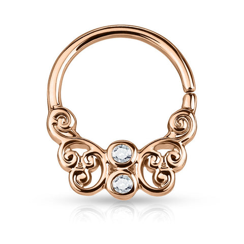 Rose Gold Bendable Butterfly Septum / Daith Piercing