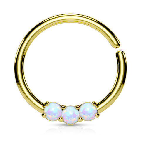 Gold Septum / Cartilage / Daith / Tragus Piercing, Bendable Septum Ring, Opal Hoop Ring