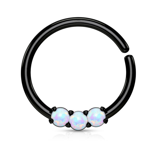 Black Septum / Cartilage / Daith / Tragus Piercing, Bendable Septum Ring, Opal Hoop Ring