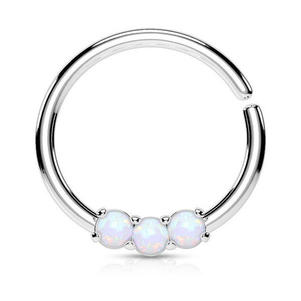 Opal Septum / Cartilage / Daith / Tragus Piercing, Bendable Septum Ring