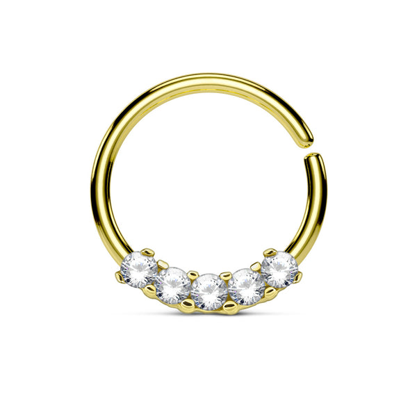 Five Crystals Gold Bendable Septum / Daith / Ear Piercing Ring