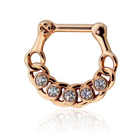 Rose Gold Cubic Zirconia Embedded Chain Septum / Daith Clicker Ring