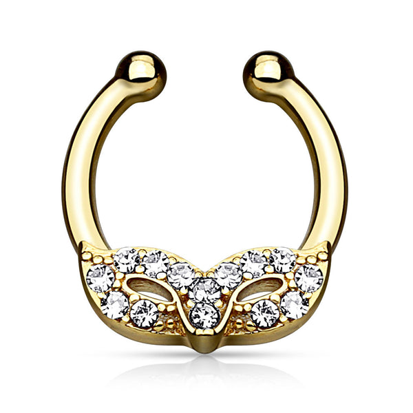 Gold Masquerade Mask Fake Septum Hanger, Crystal Fake Nose Ring