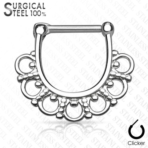 Silver Tribal Fan Filigree Septum Ring, Clicker Septum / Daith Ring
