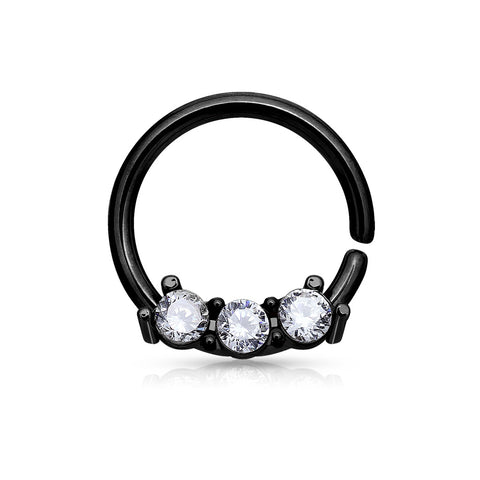 Three Crystals Black Bendable Nostril / Septum / Daith / Ear Piercing Ring