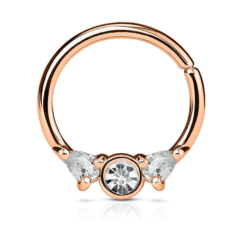 Crystal Bendable Septum Piercing, Rose Gold Cartilage / Daith Ring