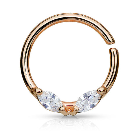 Rose Gold Bendable Septum Piercing, Marquise CZ Cartilage / Daith Ring