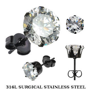 Black Stud Earring With Round Clear CZ