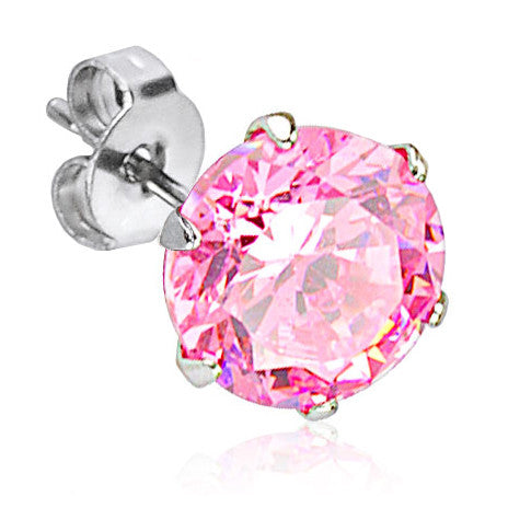 4mm Prong Set Pink Cubic Zirconia Crystal Stud Earring | Piercing Serti Cristal Zircone Rose 4mm