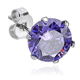 4mm Prong Set Purple Cubic Zirconia Crystal Stud Earring | Piercing Serti Cristal Zircone Violet 4mm