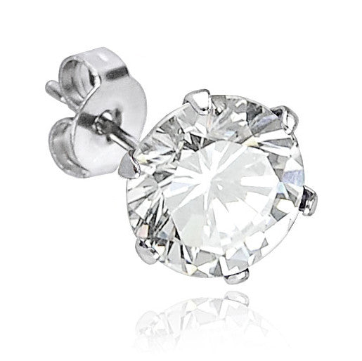 4mm Prong Set Clear Cubic Zirconia Crystal Stud Earring | Piercing Serti Cristal Zircone Transparent 4mm