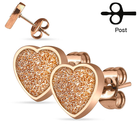 Rose Gold Sparkling Heart Ear Stud