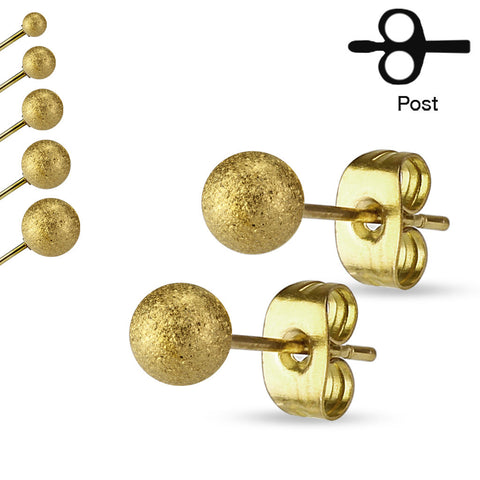 Gold Sparkling Ball Ear Stud Ring
