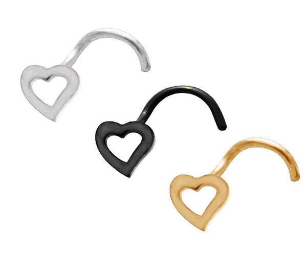 Set Of Three Colors Heart Nose Screw Ring, 20 Gauge Love Heart Nose Stud