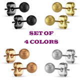 Set Of 4 Colors Sparkling Ball Ear Stud Ring