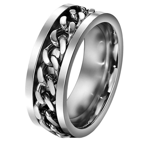 FANSING 8mm Silver Chain Design Stainless Steel Spinner Rings