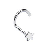 Silver Star Nose Screw Ring, 20 Gauge Star Nose Stud