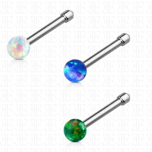 Set Of Three Colors Opal Ball Nose Stud Ring