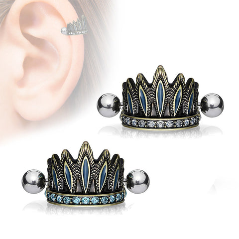 Chief Headdress Shielded Tragus / Cartilage Barbell, Ear Cuff