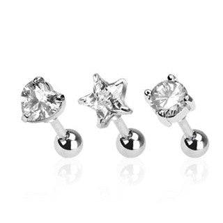 Set Of Three Shape Triple Helix Stud Cartilage Earring, Round, Heart, Star Tragus Stud