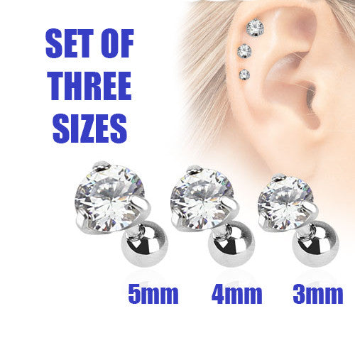 Set Of Three Sizes Clear Crystal Cartilage Helix Earring