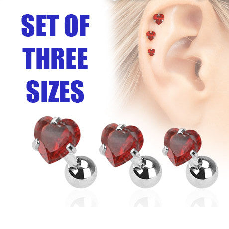 Set Of Three Sizes Red Heart Triple Helix Stud Cartilage Earring