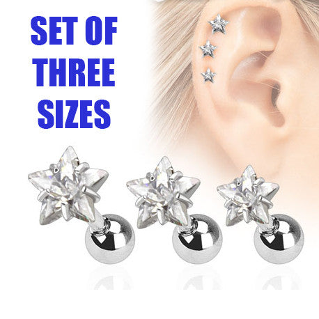 Set Of Three Sizes Clear Star Triple Helix Stud Cartilage Earring
