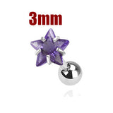 3mm Purple Star Triple Helix Stud Cartilage Earring | Piercing Cartilage Triple Helix Etoile Violette 3mm