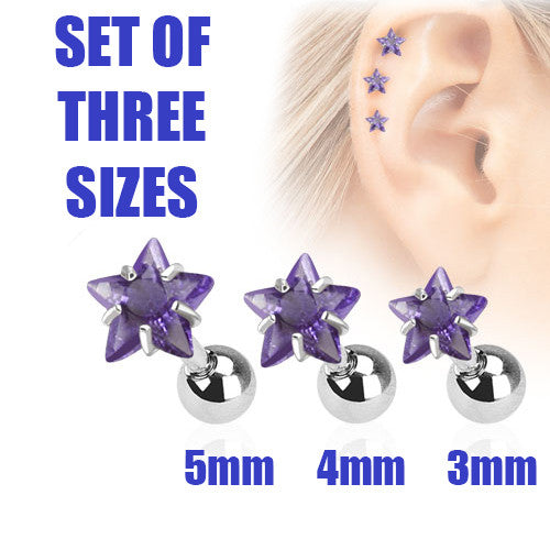 Set Of Three Sizes Purple Star, Triple Helix Stud Cartilage Earring