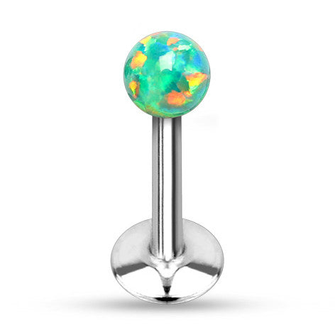 Green Opal Ball Tragus Forward Helix Labret Monroe Lip Cartilage Bar Stud