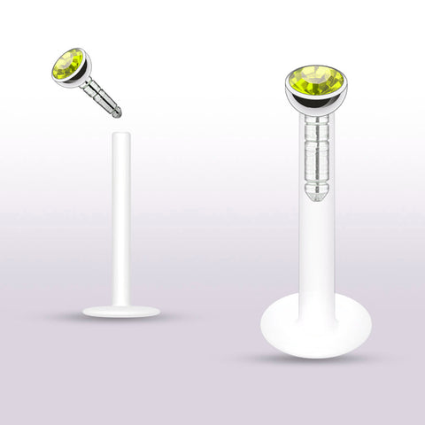 Yellow Push In Crystal Bioplast Flexible Labret Piercing Bioplast, Cartilage, Monroe CZ Stud