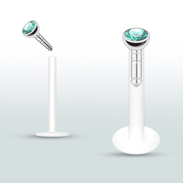 Blue Green Push In Crystal Flexible Labret Piercing Bioplast, Cartilage, Monroe CZ Stud