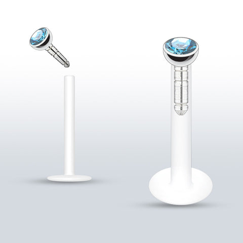 Aqua Push In Crystal Flexible Labret Piercing Bioplast, Lip, Helix, Cartilage, Monroe CZ Stud