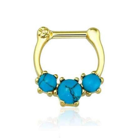 Gold Prong Set Turquoise Stone Septum / Daith Clicker Ring