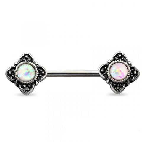 Antique Burnish Silver White Opal Flower Nipple Barbell