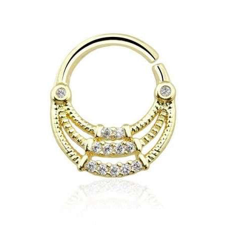 Gold Plated Multi CZ Gem 16G Triple Layer Bendable Septum / Daith Piercing