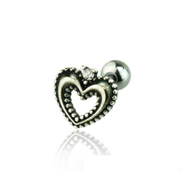 925 Sterling Silver Heart Cartilage / Helix / Tragus / Conch Barbell