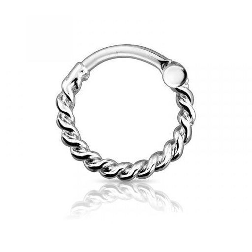 Silver Rope Hoop Septum / Daith Clicker Ring