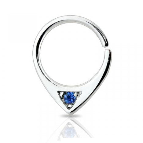 Single Blue Gem Bendable Septum / Daith / Ear Piercing Ring