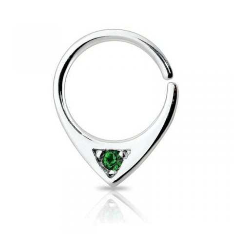 Single Green Gem Bendable Septum / Daith / Ear Piercing Ring