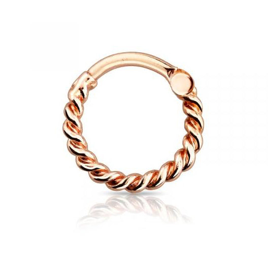 Rose Gold Rope Hoop Septum / Daith Clicker Ring