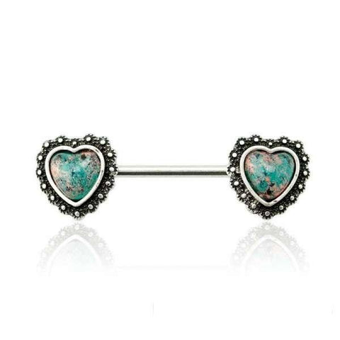Green Opal Antique Heart Nipple Barbell