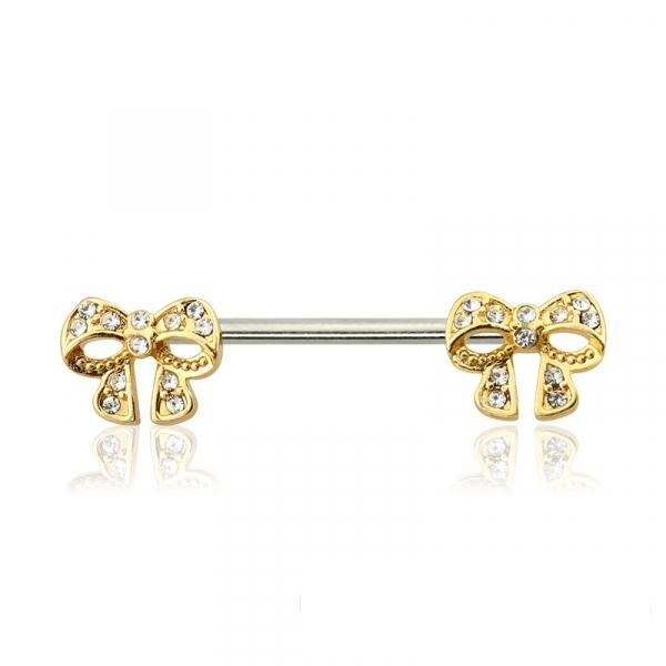 Crystal Paved Gold Bow 316L Surgical Steel Nipple Barbell