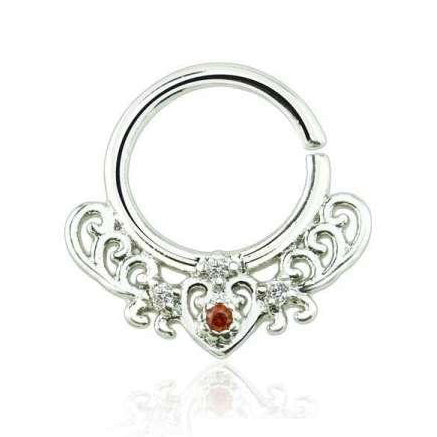 Silver Bendable Filigree Heart Design Septum / Daith Piercing