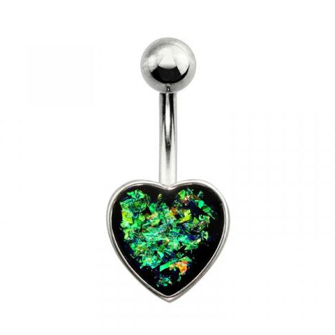Dark Green Heart Shaped Opal Belly Button Ring
