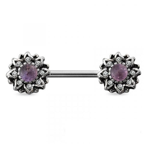 Antique Burnish Silver Purple Stone Sunburst Nipple Barbell