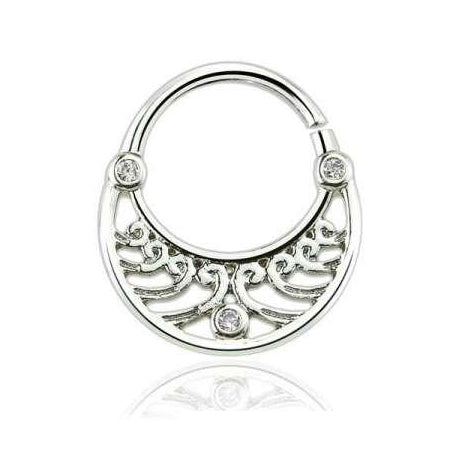 Three CZ Filigree Septum / Daith Clicker Ring