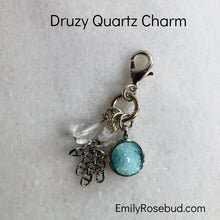 Silver Charm with Blue Druzy Quartz Pendant