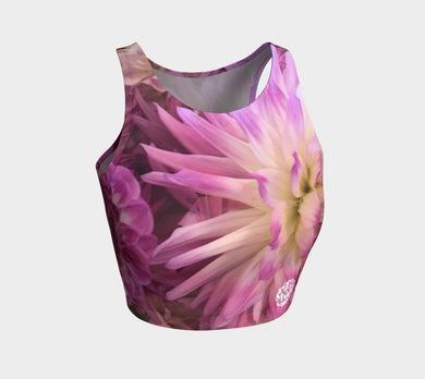 Athletic Crop Top Purple Floral 2